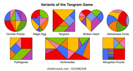 Set of most popular color vector variants of the Tangram game (geometric puzzle). Pythagoras, Archimedes, Magic Egg, Broken Heart, Vietnamese Circle, Circular and Mongolian puzzle. Vector illustration