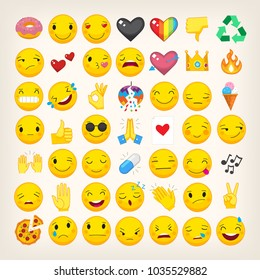 Set of most popular emoticons. Flat vector hand drawn emojis with simple colors. Isolated line art icons. Part 3