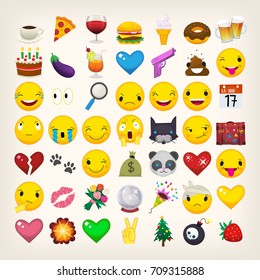 Set of most popular emoticons. Flat vector emoji.