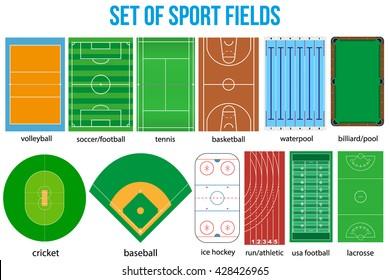 Set of most popular sample sport fields in a simple outline. Flat design. Vector illustration.