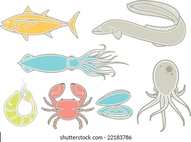 A set of most popular types of seafood, using mostly in japan cuisine.