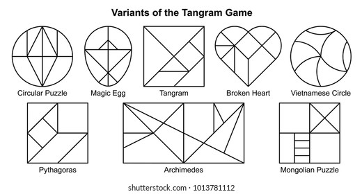 Set of most popular white vector variants of the Tangram game (geometric puzzle). Pythagoras, Archimedes, Magic Egg, Broken Heart, Vietnamese Circle, Circular and Mongolian puzzle. Vector illustration