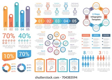 Set of most useful infographic elements - bar graphs, human infographics, pie charts, steps and options, workflow, percents, circle diagrams, timeline, vector eps10 illustration