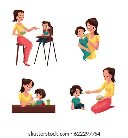 Set of mother feeding her baby, son, daughter, sitting and standing, cartoon vector illustration isolated on white background. Mother, mom giving food to her child, kid, baby in different positions