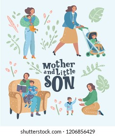 Set of mother with her son in different poses and situations. Motherhood concept. Mom playing and walking with her baby boy. Mama reading book to her child. Vector cartoon illustration