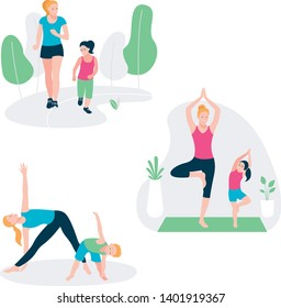 Set with mother and kid doing sport exercises. Family sports activity