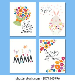 Set of Mothers Day cards templates with hand written lettering quotes in Spanish, cute bunny with flowers, hearts, childish drawings. Vector illustration. Design concept banner, postcard, gift tag.