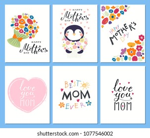 Set of Mothers Day cards templates with hand written lettering quotes, cute penguin with a bunch of flowers, hearts, childish drawings. Vector illustration. Design concept banner, postcard, gift tag.