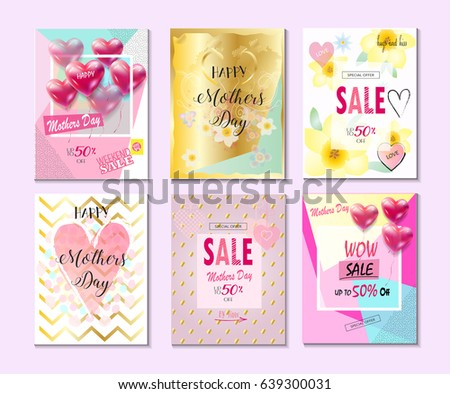 set of mothers day typographical greeting cards flyers posters wallpaper sale - Discount Greeting Cards