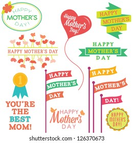 Set of Mother's Day Vector Design Elements