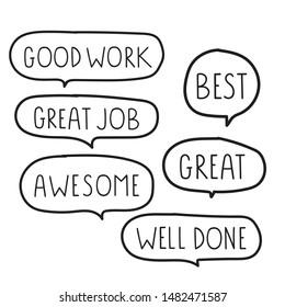 Set of motivation speech bubbles. Hand drawn vector illustration on white background.