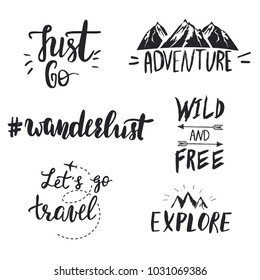 Set of motivational hand lettered travel quotes with small symbols.