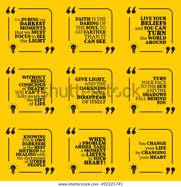 Set Motivational Quotes About Darkness Light Stock Vector