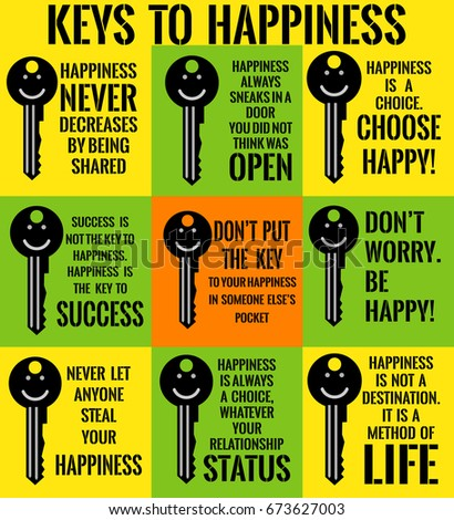 Set Motivational Quotes About Happiness Picture Stock Vector