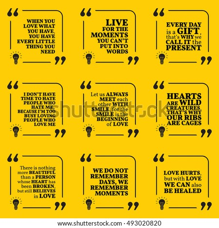 Set Motivational Quotes About Love Moments Stock Vector Royalty