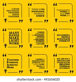 Set of motivational quotes about team, unity, communication, work, togetherness, thankfulness, helping, support and success. Simple note design typography poster. Vector illustration
