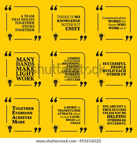 Set Motivational Quotes About Team Unity Stock Vector Royalty Free