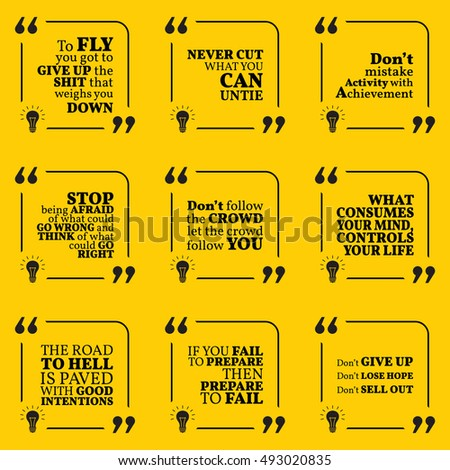 Set Motivational Warning Quotes About Responsibility Stock Vector