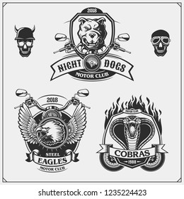 Set of Moto club emblems, labels and design elements. Emblems with bulldog, eagle and cobra.