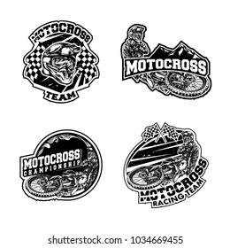 Set of motocross illustration on white background