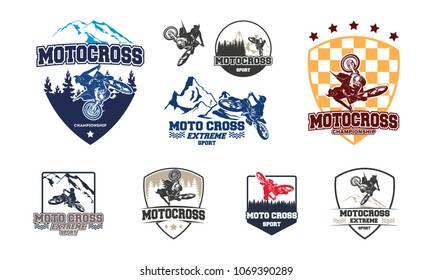 Set of Motocross Jump Logo Vector, Motocross Freestyle Logo Badge with forest and mountain symbol vector