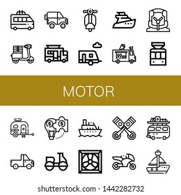Set of motor icons such as Minivan, Moped, Jeep, Caravan, Vespa, Trailer, Yatch, Ice cream truck, Car seat, Tramway, Pickup truck, Hybrid solution, Motorcycle, Boat, Cooling system , motor