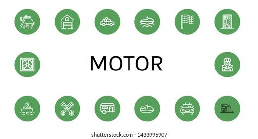 Set of motor icons such as Motorbike, Garage, Taxi, Jet ski, Race flag, Food delivery, Yatch, Pistons, Caravan, Motorboat, Trailer, Cooling system, Biker , motor