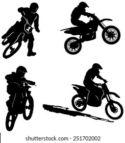 Set of motor sport silhouettes