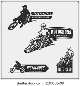 Set of motor sport silhouettes, labels and emblems. Motocross riders.