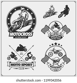 Set of motor sport silhouettes, labels and emblems. Motocross jumping riders, moto trial, moto freestyle and motor racing.
