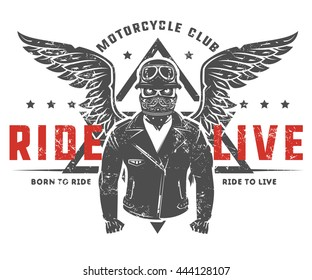 Set of motorcycle biker vintage style tattoo and print for t shirt