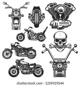 Set of motorcycle design elements. for logo, label, emblem, sign, poster, t shirt. Vector illustration