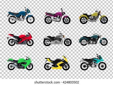 Set of motorcycle design flat style. Motorbike and bike, motorcycle isolated, motorcycle and motor, engine cycle, travel motorcycle, power moto, speed vehicle transport, transportation illustration