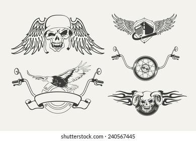 Set of motorcycle emblems, badges, labels and designed elements.