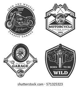 Set of motorcycle monochrome emblems, labels, logos and motorbike badges with descriptions of custom bikes, classic garage, born to be wild. vector illustration