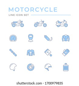 Set of motorcycle related color line icons
