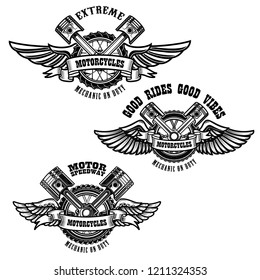 Set of motorcycle repair emblems. Bike motor, pistons. Design element for logo, label, emblem, sign, poster. Vector illustration