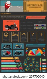 Set of motorcycles elements, transportation infographics.  Vector illustration