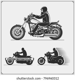 Set of motorcycles. Emblems of bikers club. Vintage style. Monochrome design.