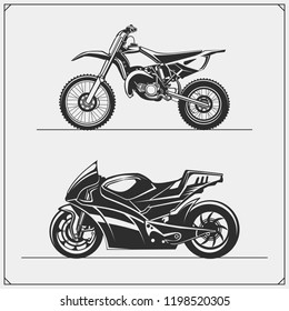 Set of motorcycles. Motocross and motoracing. Emblems of bikers club. Monochrome design.