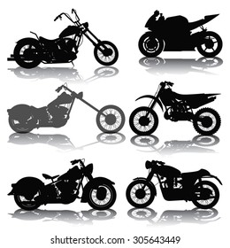 Set of motorcycles silhouettes isolated on white. Vector illustration