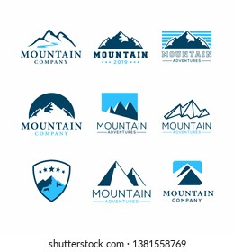 Set of mountain adventure logo template vector. Mountain logotype