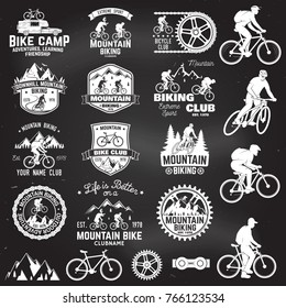 Set of Mountain biking clubs emblem with design element. Vector illustration. Concept for head badges, shirt, print. Mountain biking man riding on bikes silhouette. Chalk drawing on a blackboard