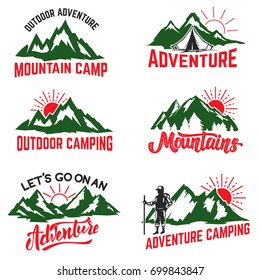 Set of mountain camping badges isolated on white background. Hiking, outdoor ,adventure. Design elements for logo, label, emblem, sign. Vector illustration