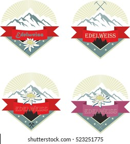 Set of mountain climber emblem. Camping badges. Banner. Outdoor events and travel label. Ski resort, adventure, edelweiss, tourism, expedition logo.
