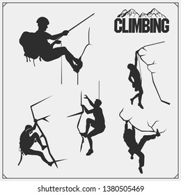Set of mountain climbing labels, emblems and design elements. Rock climbers silhouettes. Vector monochrome illustration.