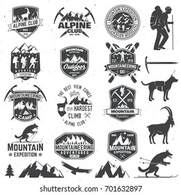 Set of mountain expedition badges with design elements. Vector. Concept for alpine club shirt or logo, print, stamp or tee. Design with mountaineers and mountain silhouette. Outdoors adventure emblems
