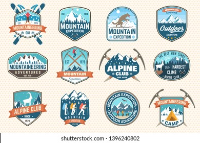 Set of mountain expedition patch. Vector. Concept for alpine club shirt or badge, print, stamp or tee. Vintage typography design with mountaineers and mountain silhouette. Outdoors adventure emblems.