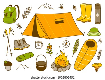 Set of mountain hiking items isolated on white - cartoon objects for Your design
