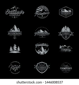 set of mountain logo with negative space - vector